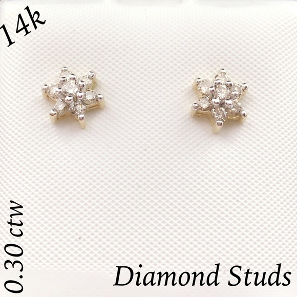 635b808ea Fine Jewelry Jewelry | 14k Gold 030 Ctw Flower Diamond Stud Earrings ...